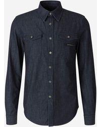 Givenchy Camisa Denim Logo - Blue