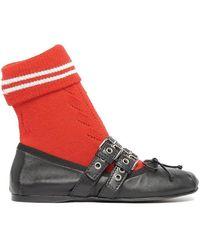 Miu Miu Buckle Strap Sock Ballerina Flats - Red