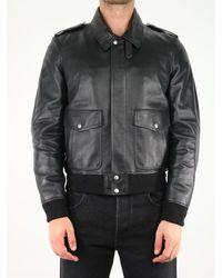 Saint Laurent Shearling Detail Leather Bomber Jacket - Black