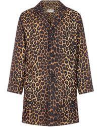 Saint Laurent Leopard Print Padded Coat - Multicolour
