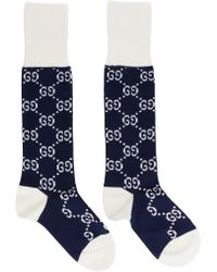 Gucci - Pink And Blue GG Supreme Long Socks - Lyst