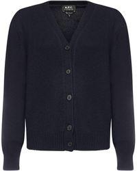 A.P.C. Ama Virgin Wool Cardigan - Blue