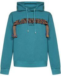 Lanvin Logo Cotton Hoodie - Blue