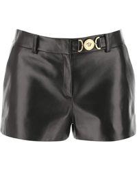 Versace Black Nappa Leather Shorts Nd