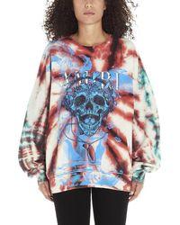 Amiri Skull Logo Tie Dye Sweater - Blue