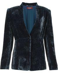 Max Mara Tailored Velvet Blazer - Blue