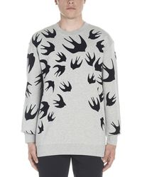 McQ Large Swallow Flocked Crew Sweat - Gray