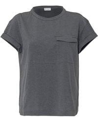 Brunello Cucinelli - Monili Detailed Pocket Crewneck T-shirt - Lyst