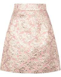 Dolce & Gabbana Lamé Jacquard Mini Skirt - Pink