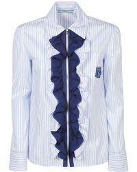Prada Ruffle Front Shirt - Blue
