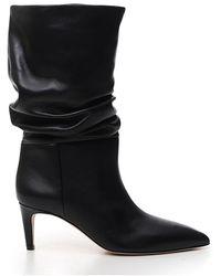 Paris Texas Ruched Mid-calf Boots - Black