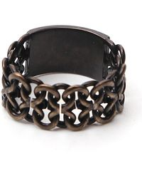 Saint Laurent Logo Chain Ring - Black