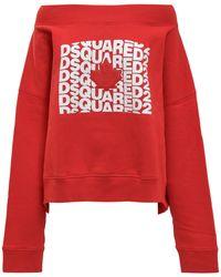 DSquared² Cold-shoulder Logo Print Jumper - Red