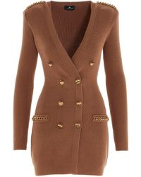 Elisabetta Franchi Double Breasted Knit Dress - Natural