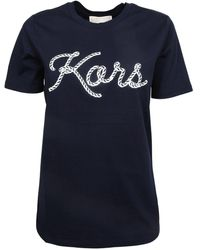 MICHAEL Michael Kors Logo Print Round Neck T-shirt - Blue