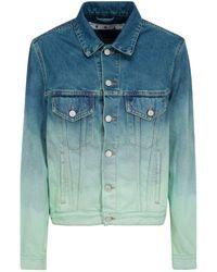 Off-White c/o Virgil Abloh Faded Effect Denim Jacket - Blue