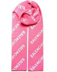 Balenciaga Allover Logo Scarf - Pink