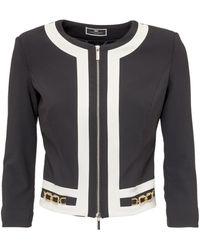 Elisabetta Franchi Two-tone Cropped Jacket - Black