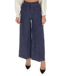 Max Mara Wide-leg Denim Trousers - Blue