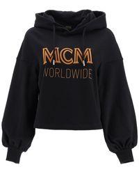 MCM Worldwide Logo Print Cropped Hoodie - Black