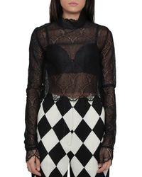 CASABLANCA Sheer Lace Cropped Blouse - Black