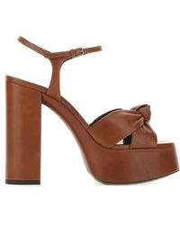 Saint Laurent Bianca Platform Sandals - Brown