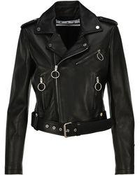 Off-White c/o Virgil Abloh Arrows Printed Leather Biker Jacket - Black