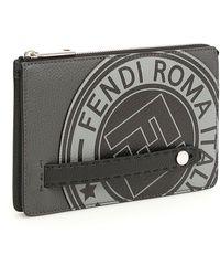 Fendi Logo Clutch Bag - Grey