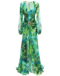 Versace Embellished Buckle Printed Dress - Green