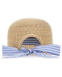Miu Miu Woven Striped Bow Hat - Natural