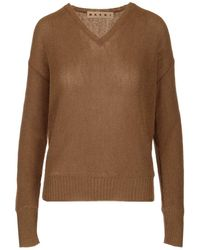 Marni Long Sleeved V-neck Knit - Natural
