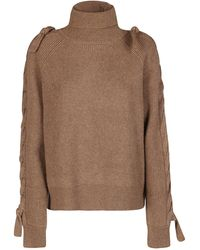 JW Anderson Cable Insert Turtleneck Sweater - Brown