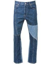 Alexander McQueen Patchwork Straight-leg Jeans - Blue