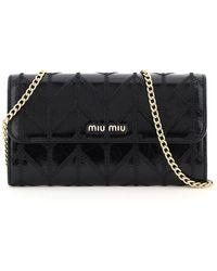 Miu Miu Mini Miu Patchwork Motif Chain Wallet - Black