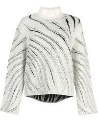 3.1 Phillip Lim Zebra Turtleneck Sweater - White