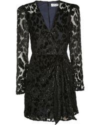 Self-Portrait Draped Wrap Dress - Black