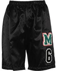 MM6 by Maison Martin Margiela Logo Patchwork Shorts - Black