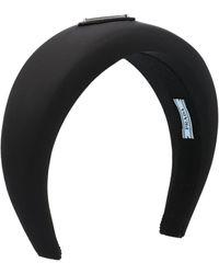Prada Logo Plaque Headband - Black