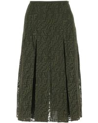 Fendi Army Green Mesh Skirt Nd