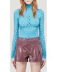 Maisie Wilen Perforated Turtleneck Top - Blue