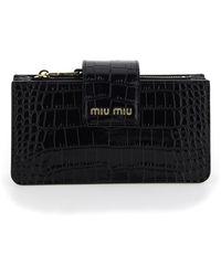 Miu Miu Embossed Clutch Bag - Black