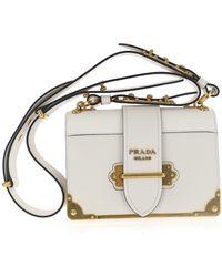 Prada Cahier Shoulder Bag - White