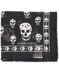 Alexander McQueen Classic Skull Print Scarf - Black