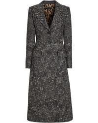 Dolce & Gabbana Checked Wool Long Coat - Multicolour