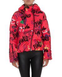 Pinko Graffiti Printed Off-centre Zip Puffer Jacket - Pink