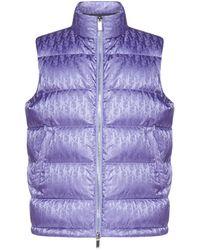 Dior All-over Dior Oblique Jacquard Motif Sleeveless Down Jacket - Purple