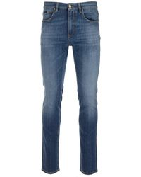 Z Zegna Faded Slim Fit Jeans - Blue