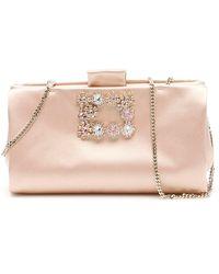 Roger Vivier Flower Buckle Clutch Bag - Pink