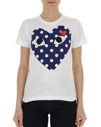 COMME DES GARÇONS PLAY Logo Print T-shirt - White