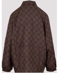 Gucci GG Supreme-print Silk Jacket Xs - Brown